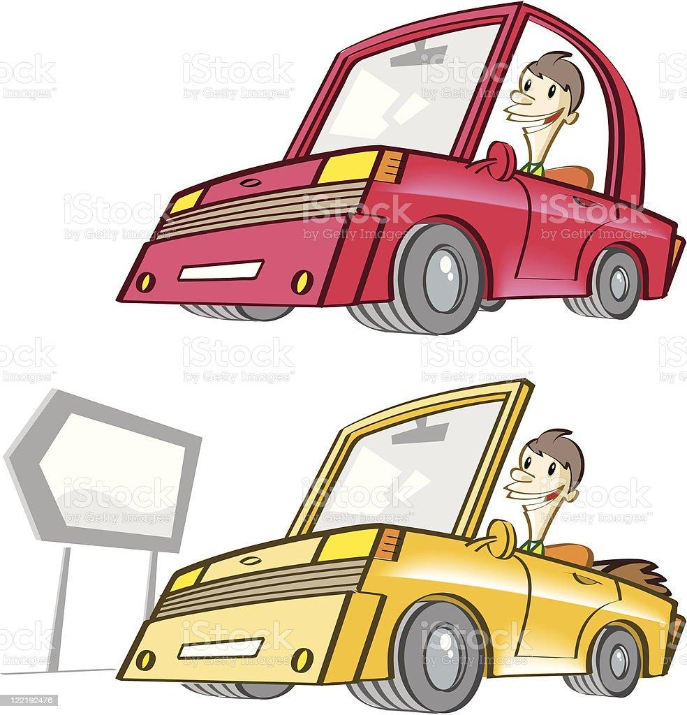 dream car and cabrio vector art illustration