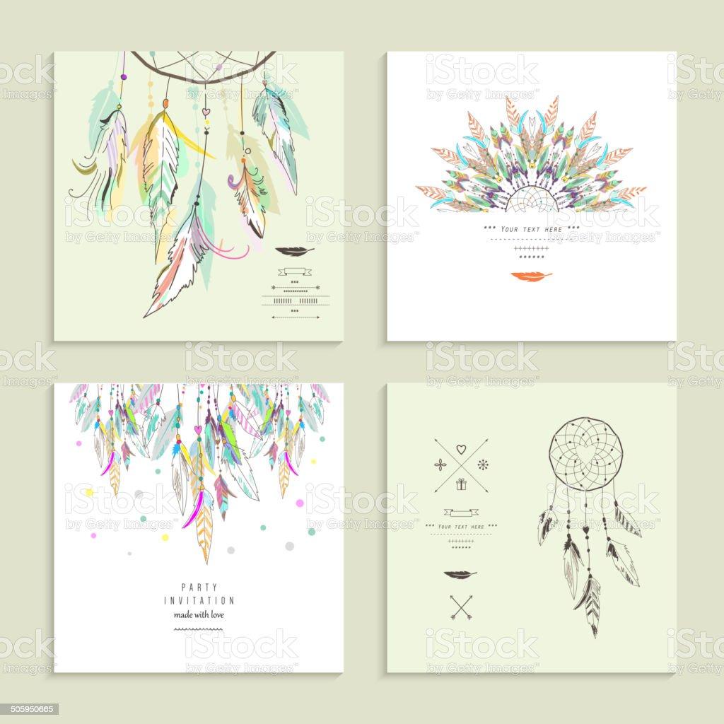Dream  catcher. Set of four cards. Vector illustration. vector art illustration