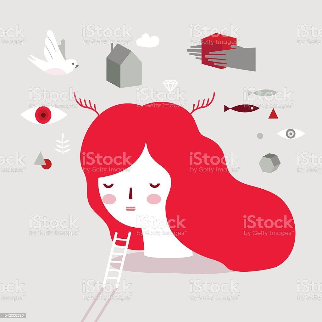 Dream Girl. vector art illustration