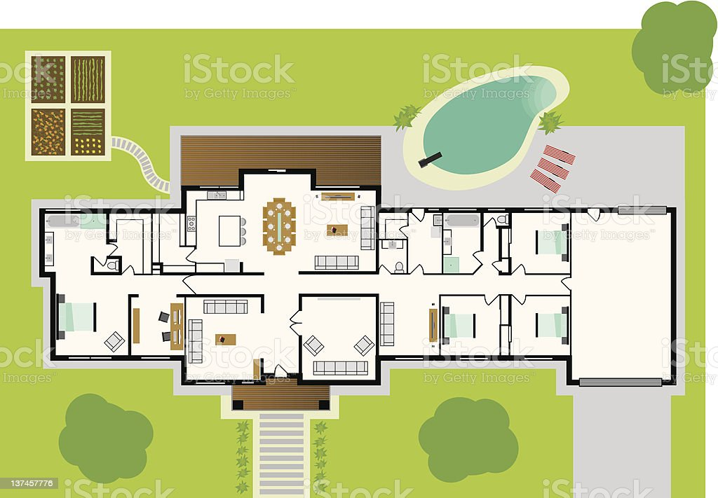 House plans vector art house art Birds eye view house plan