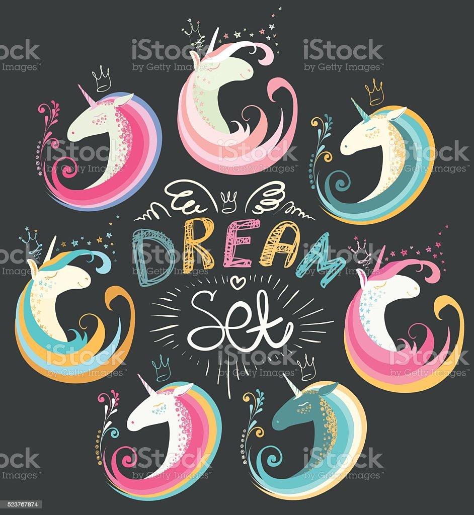 Dream set of unicorns and decorative elements. vector art illustration