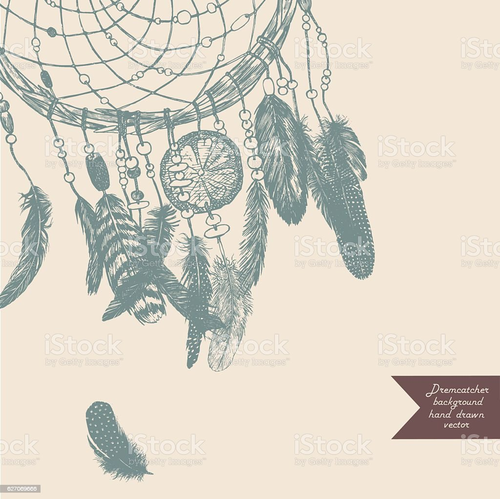 Dreamcatcher background. Hand drawn illustration. Vintage. vector art illustration