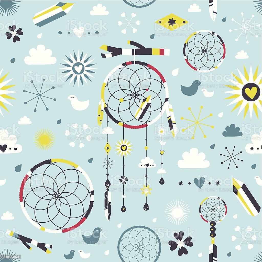 Dreamcatcher textile pattern royalty-free stock vector art