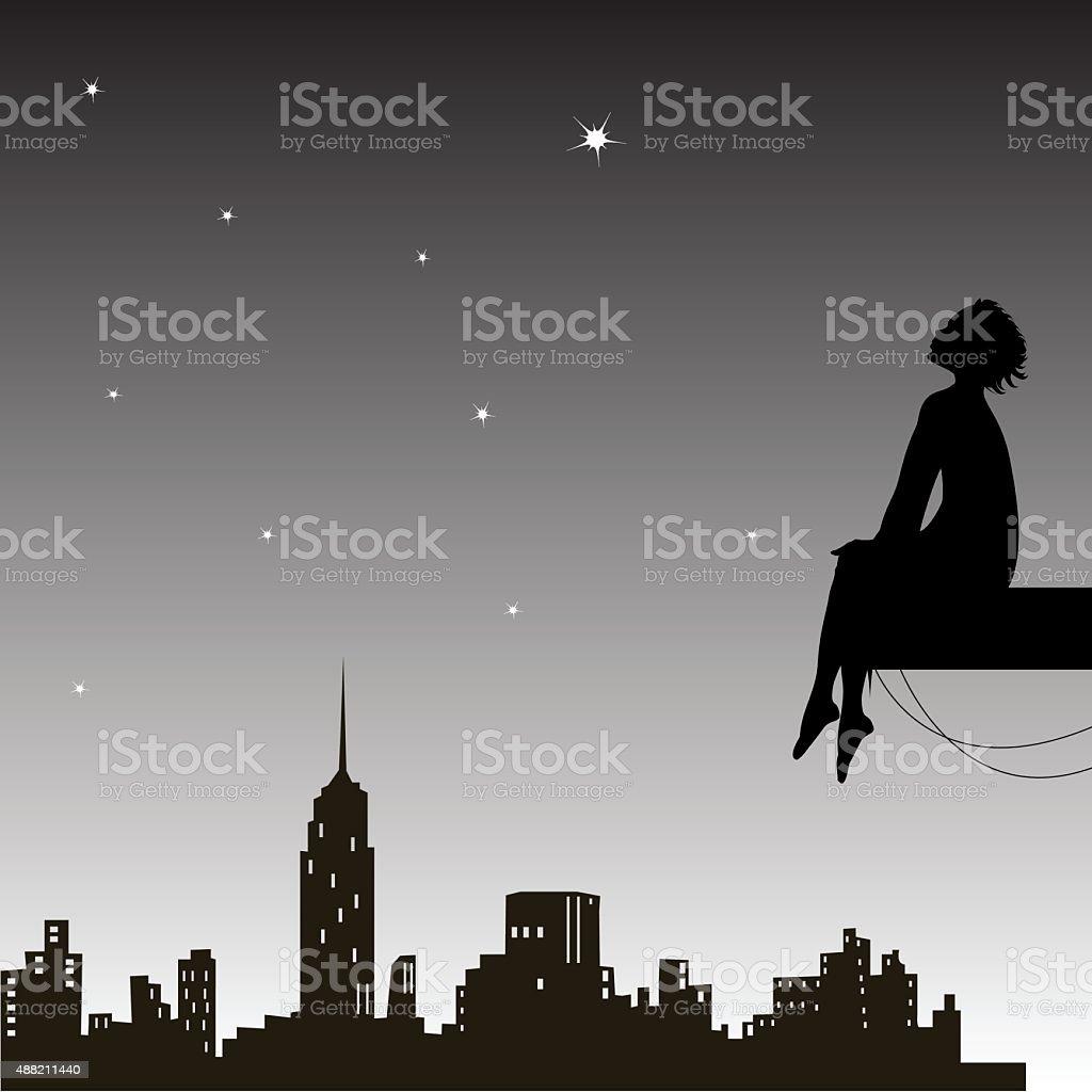 dreamer vector art illustration