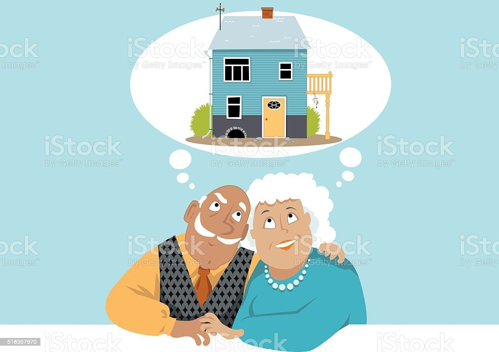 Dreaming about a new home vector art illustration