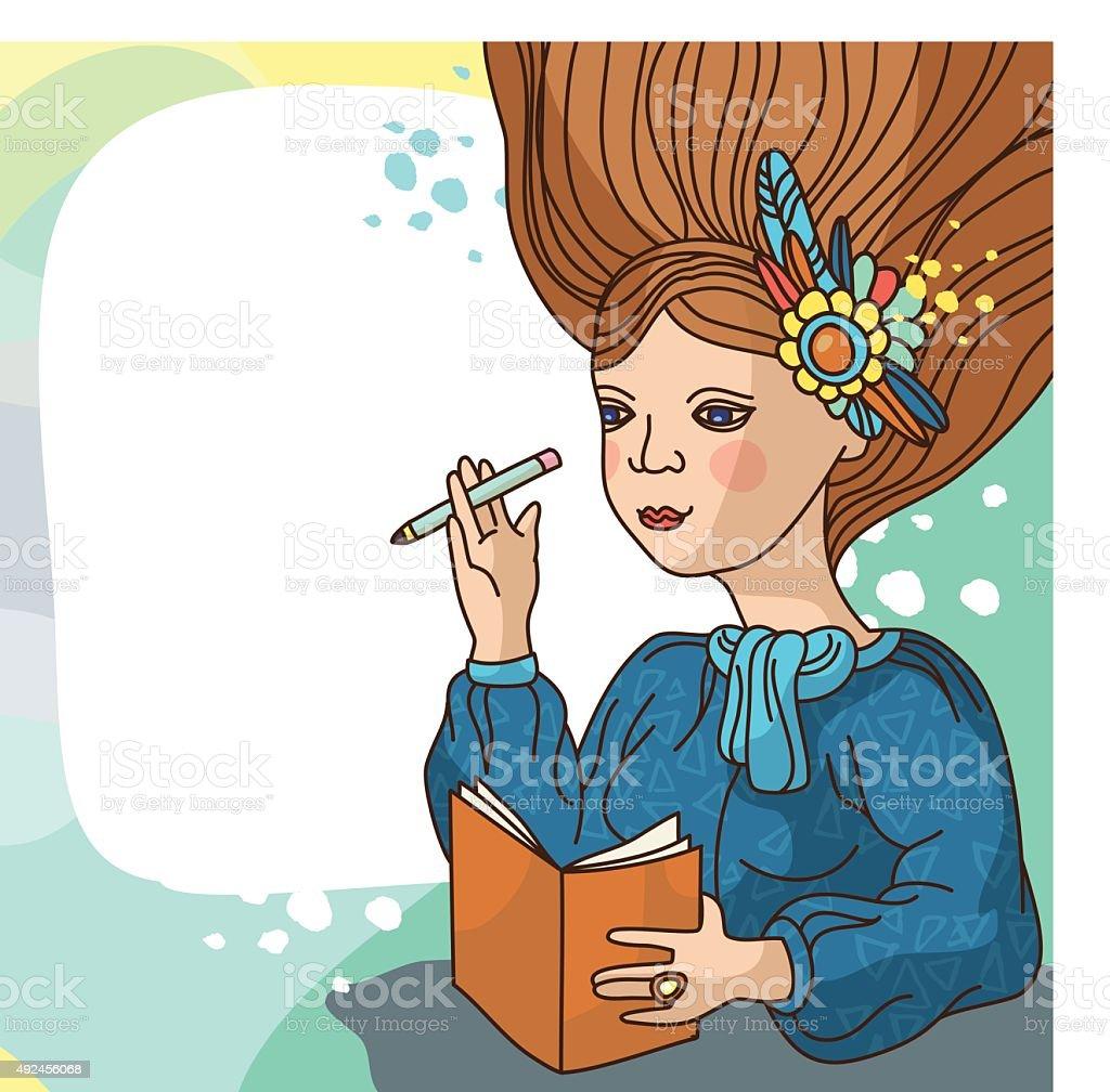 Dreaming girl with a sketchbook. Vector illustration vector art illustration