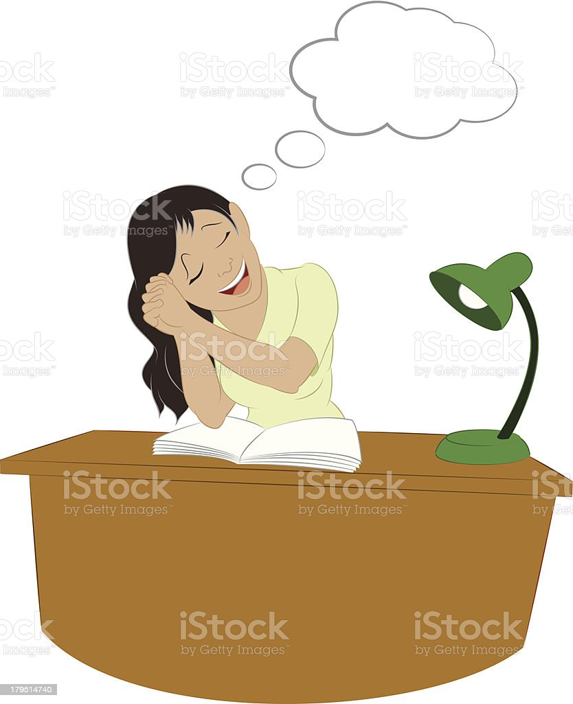 Dreaming girl with a table vector art illustration