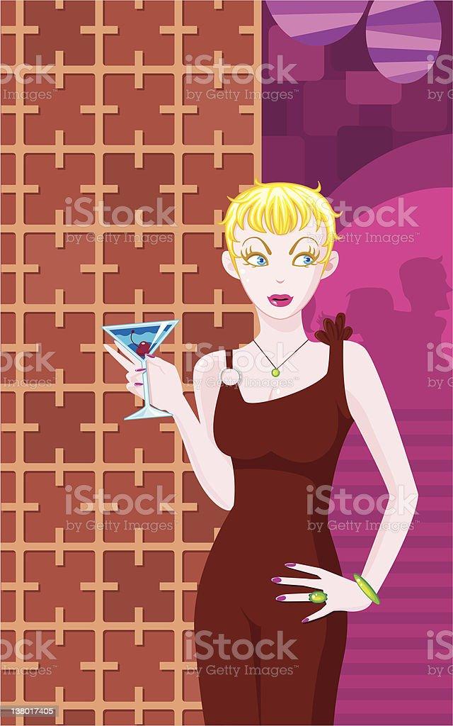 DreamLover - Diva with Martini vector art illustration