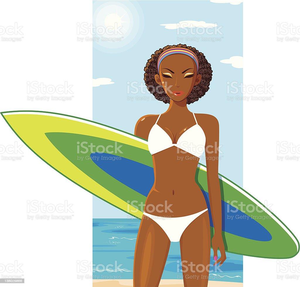 DreamLover - Diva with Surfboard vector art illustration