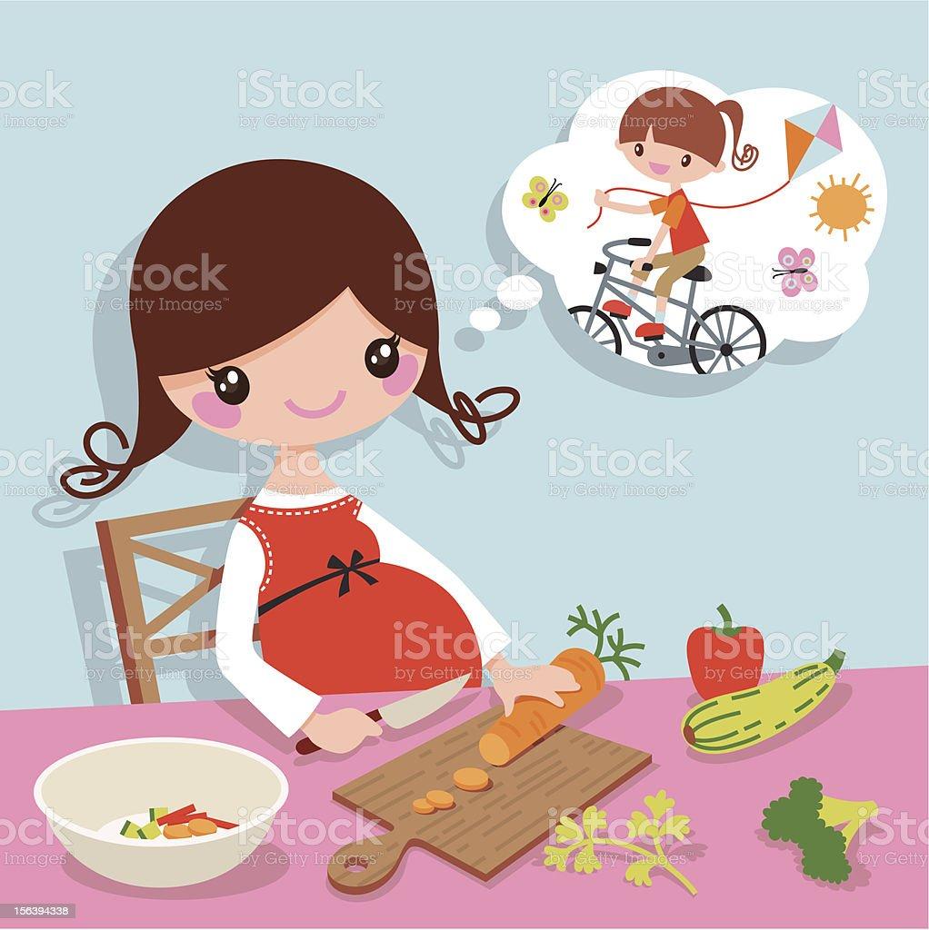 Dreams of motherhood vector art illustration