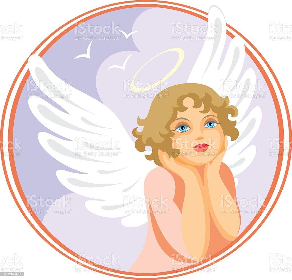 dreamy angel vector art illustration