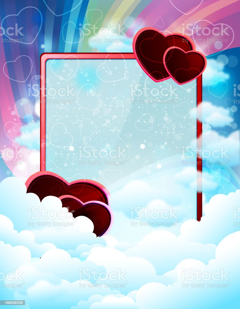 Dreamy Frame with Valentine Hearts royalty-free stock vector art