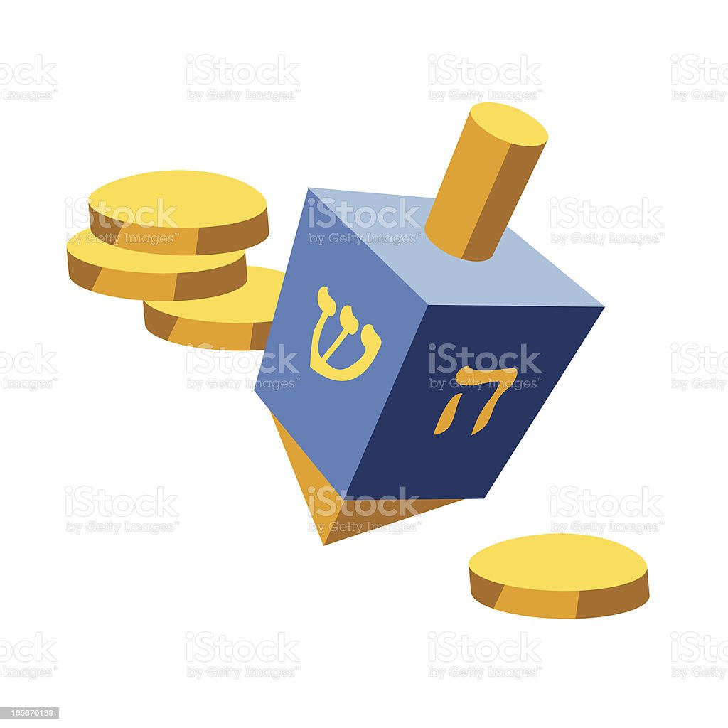 Dreidel and Coins royalty-free stock vector art