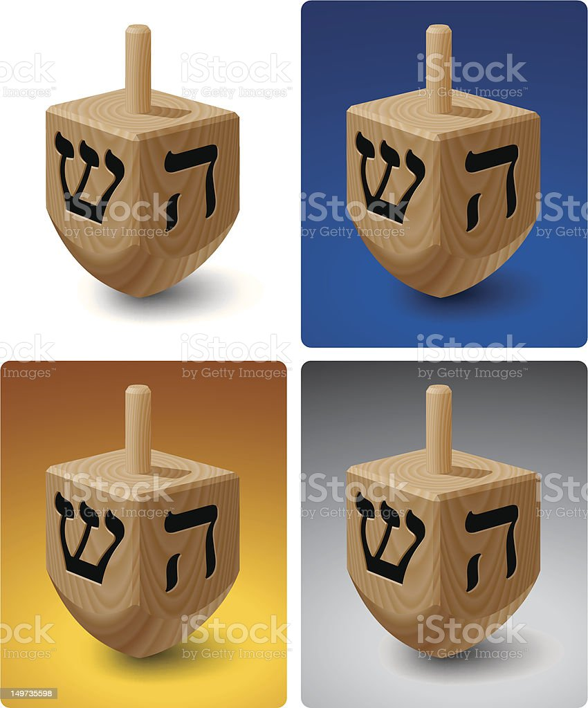 Dreidel on Colored Backgrounds royalty-free stock vector art