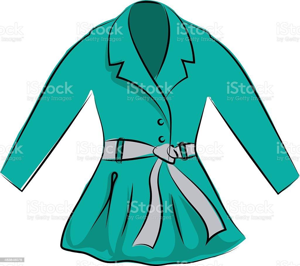 Dress Coat Hand Drawn Vector Icon vector art illustration