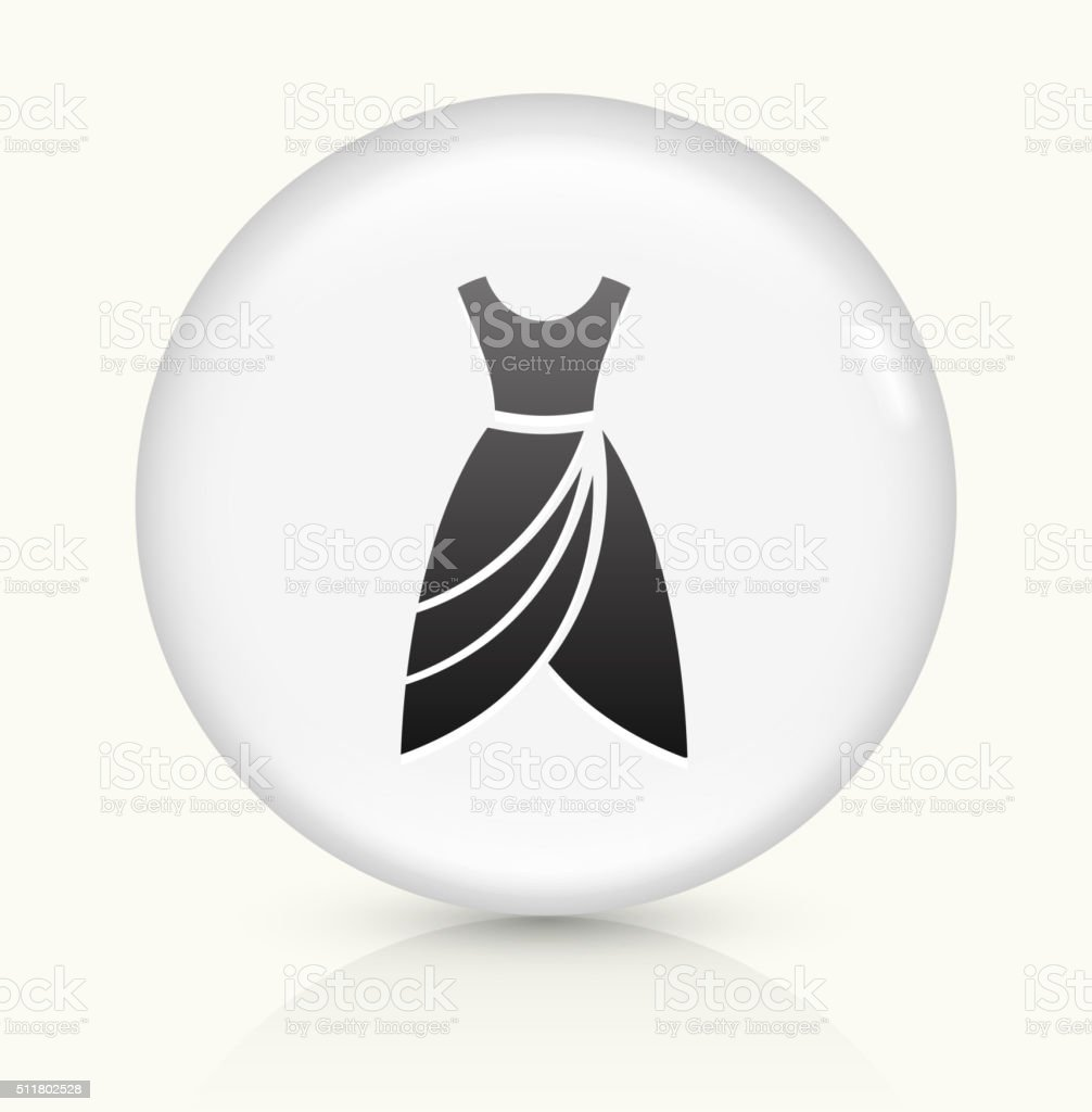 Dress icon on white round vector button vector art illustration