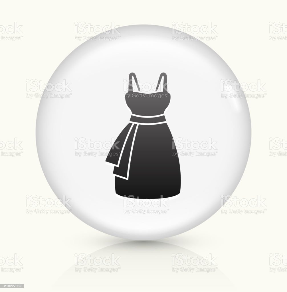 Dress icon on white round vector button vector art illustration