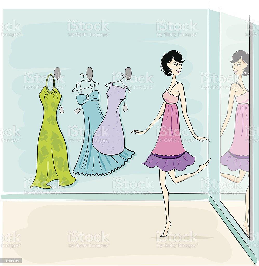 Dress Shop vector art illustration
