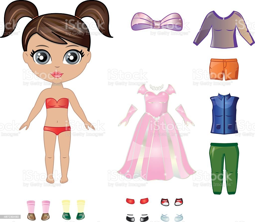 Dress up paper doll vector art illustration