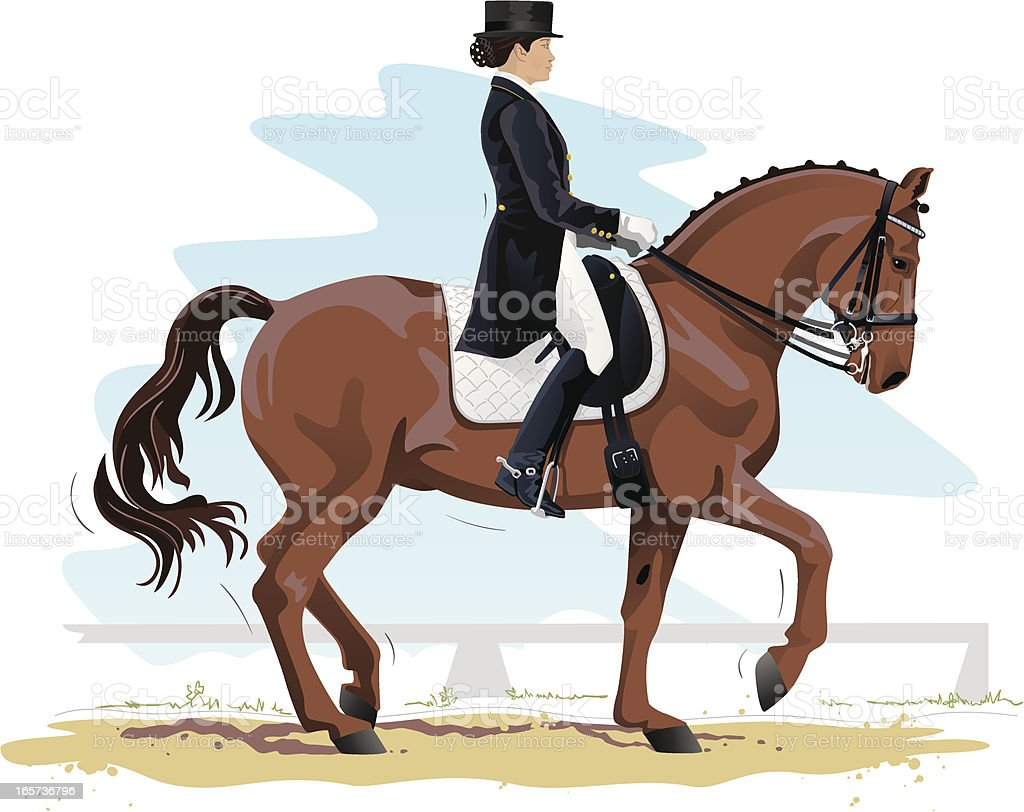 Dressage questre rider performing la couleur de dessin - Cheval dessin couleur ...
