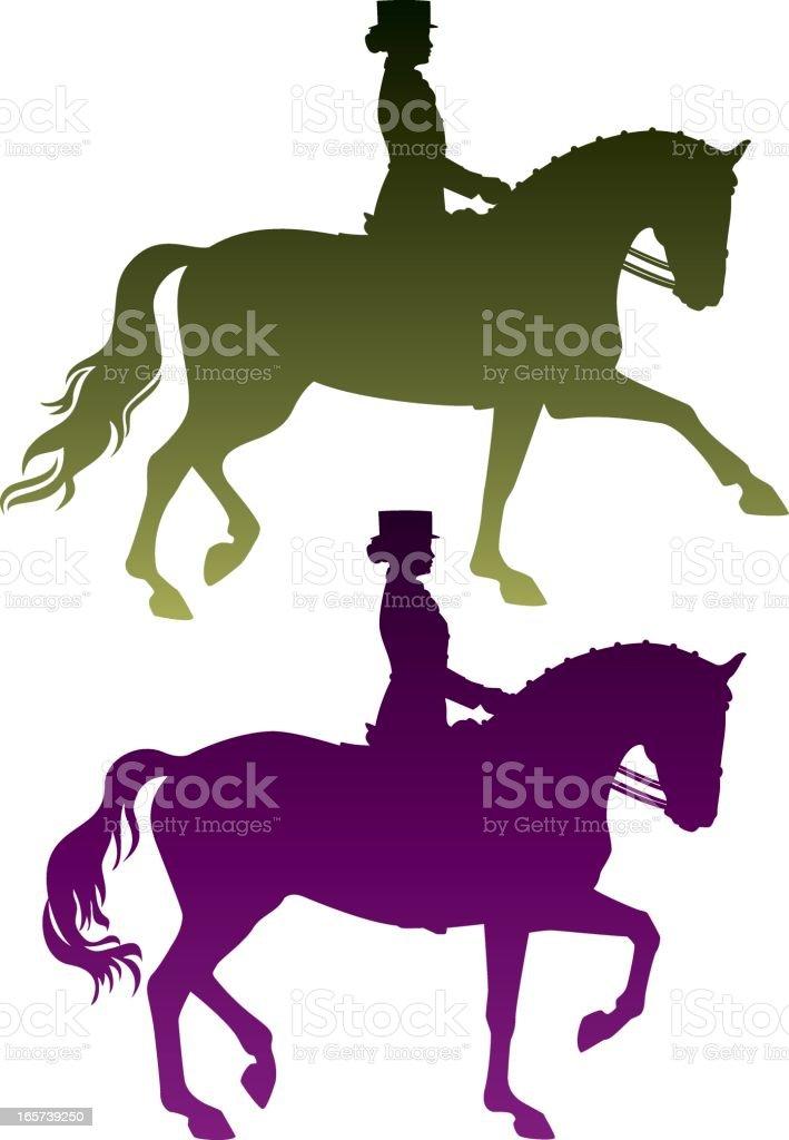 Dressage Rider Silhouettes vector art illustration