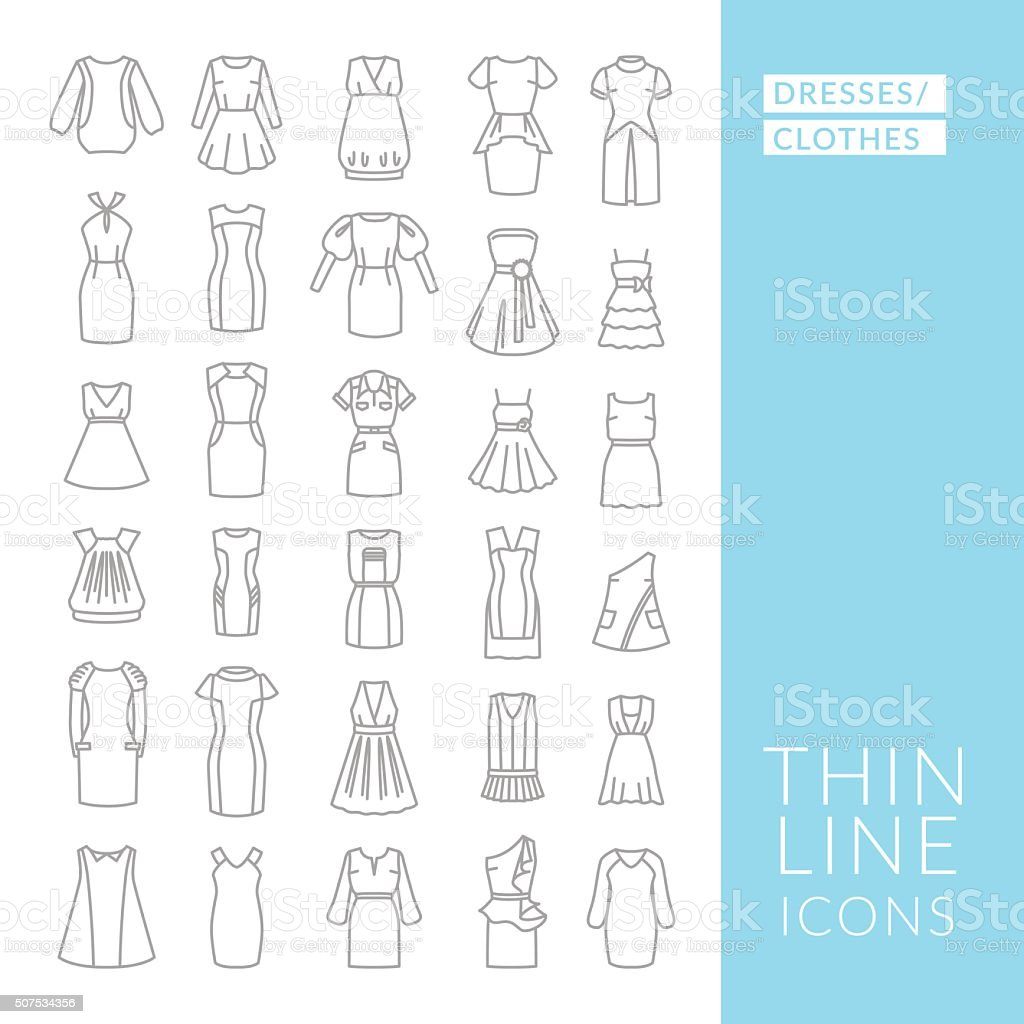 Dresses and clothes. Set with thin line icons vector art illustration