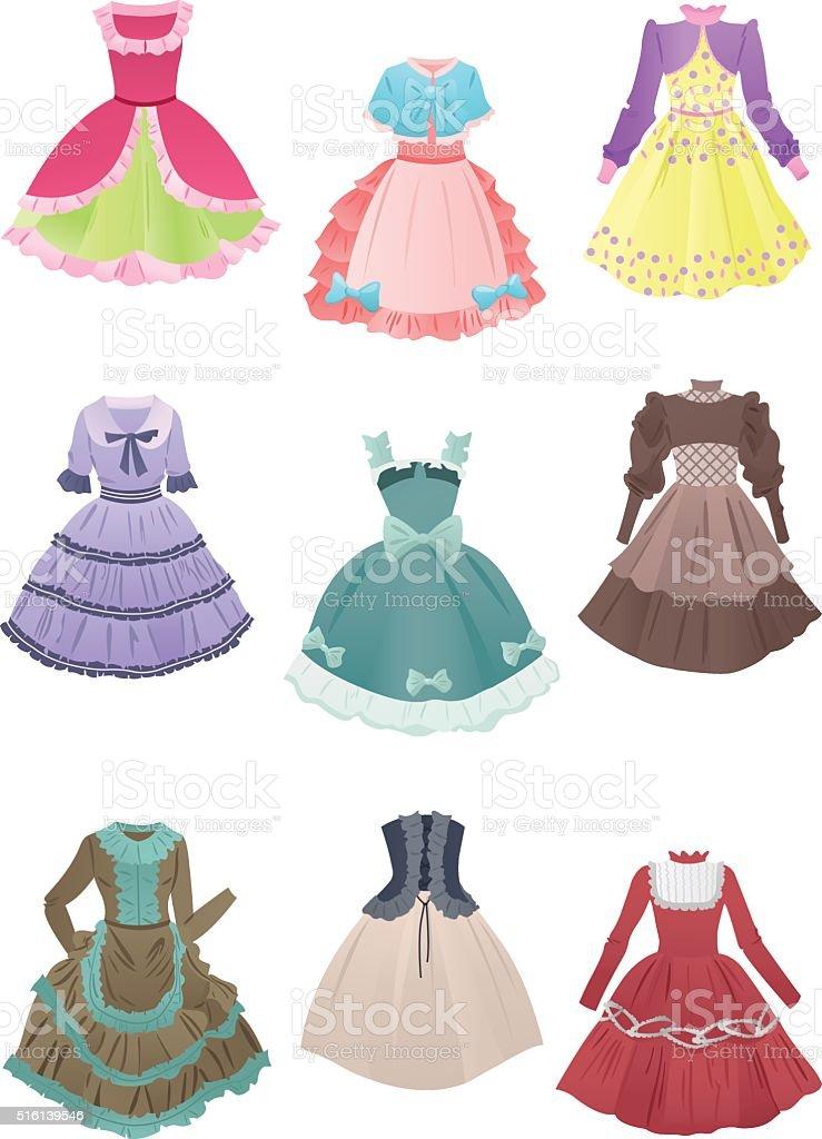 Dresses for cosplay vector art illustration