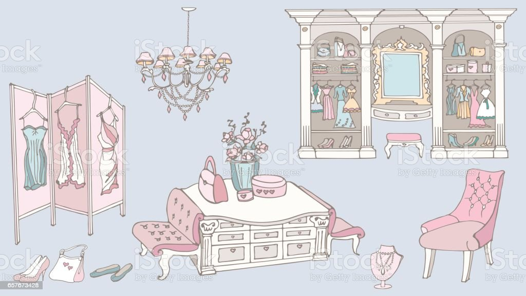 dressing room, fashion, blue pink vector art illustration