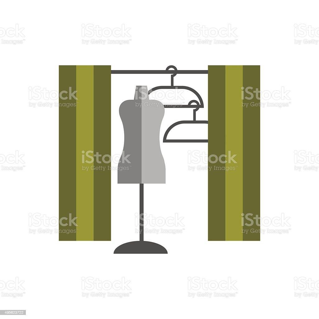 dressing room Studio on white background flat vector art illustration