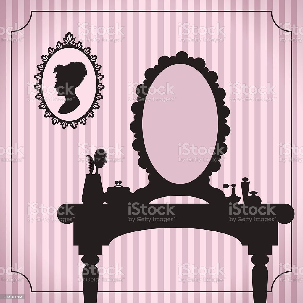 Dressing table silhouette with woman accessories vector art illustration