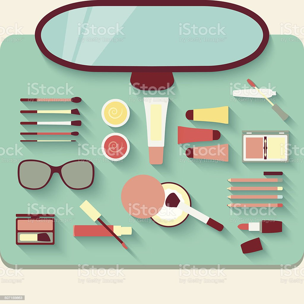 Dressing table with cosmetics. Top view vector art illustration