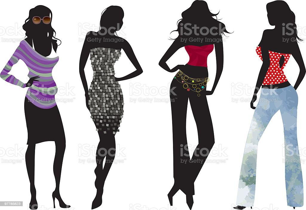 Dressy and casual silhouettes royalty-free stock vector art