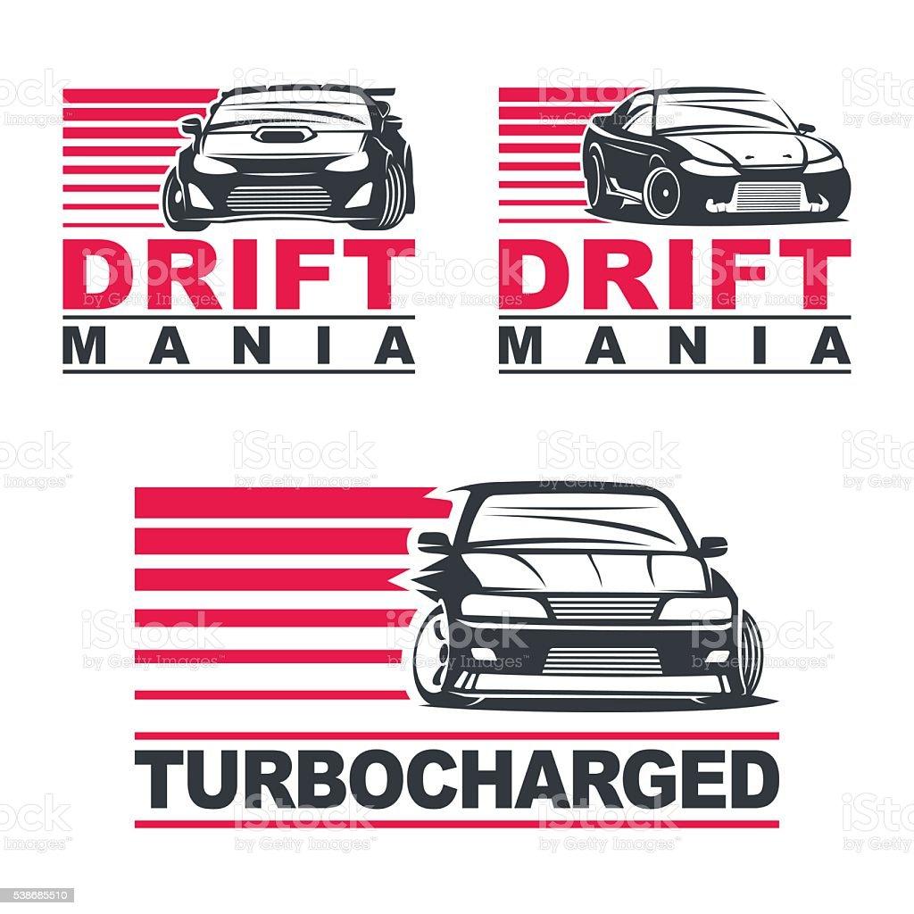 drift car set2 vector art illustration