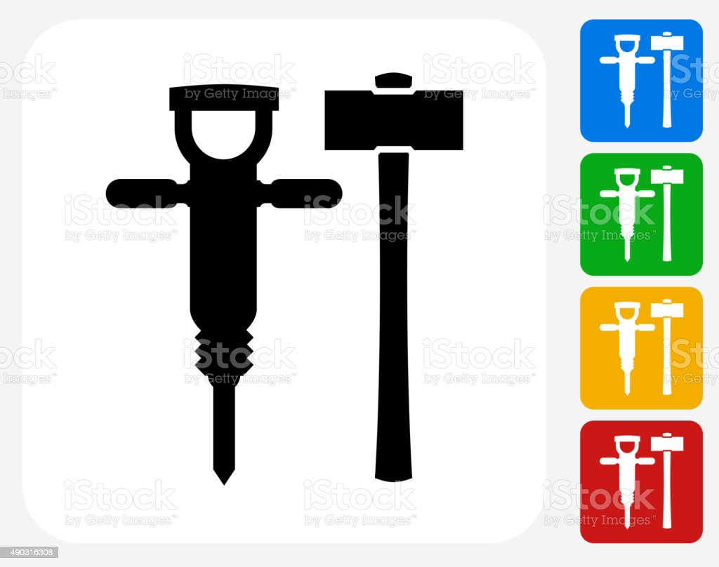Drill and Hammer Icon Flat Graphic Design vector art illustration