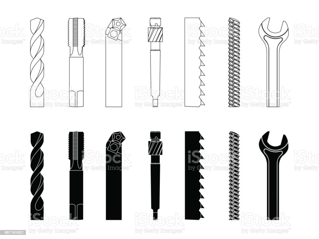Drill bit screw-cutter milling cutter saw armature wrench vector illustration set vector art illustration