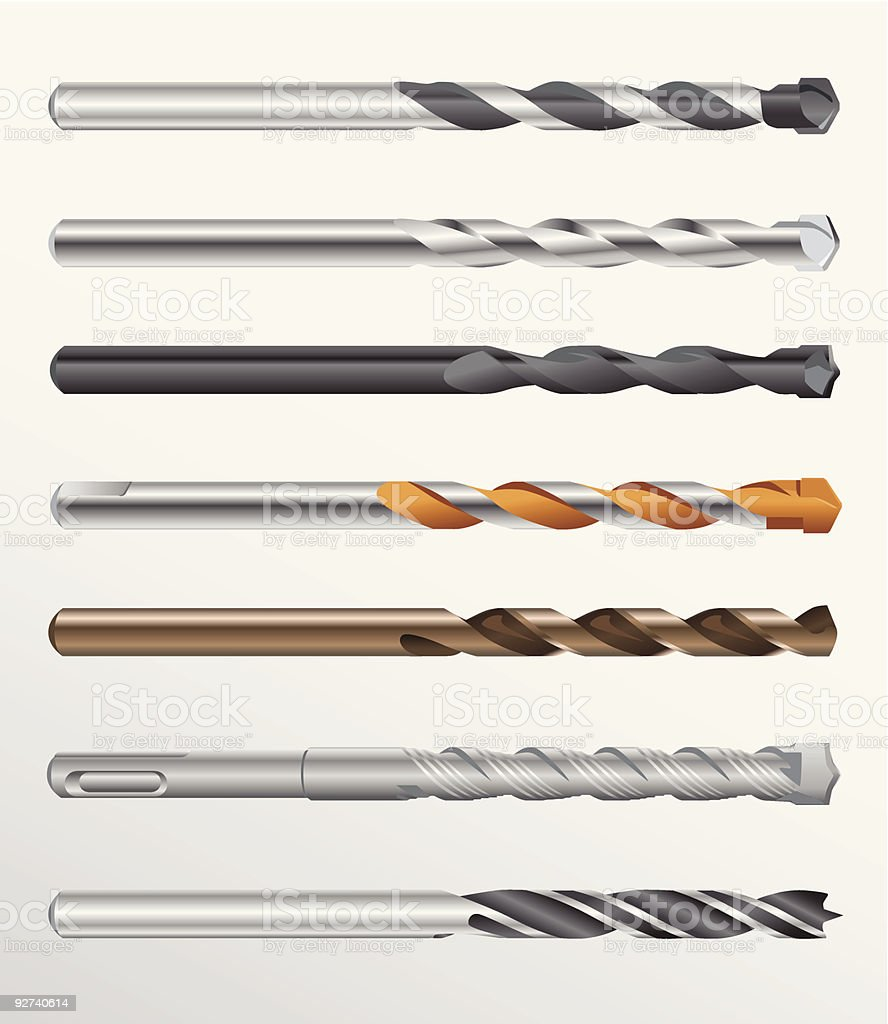 Drill bits vector art illustration