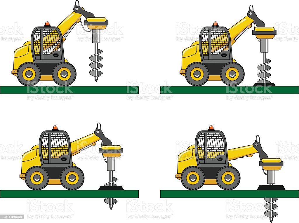 Drilling equipment. Heavy construction machines. Vector illustration vector art illustration