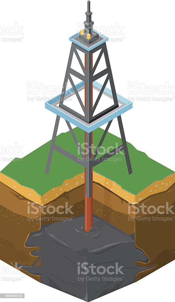 Drilling For Oil royalty-free stock vector art