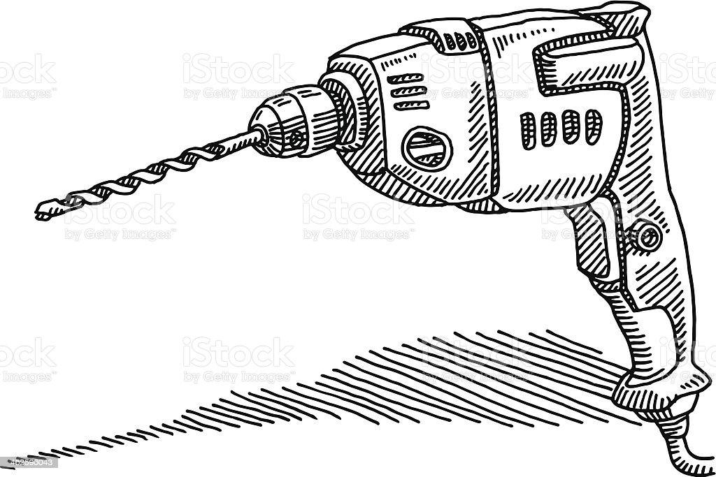 Drilling Machine Drawing vector art illustration