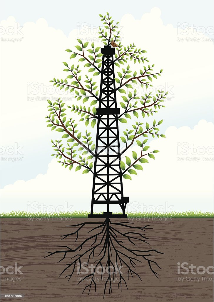 Drilling rig as a tree royalty-free stock vector art