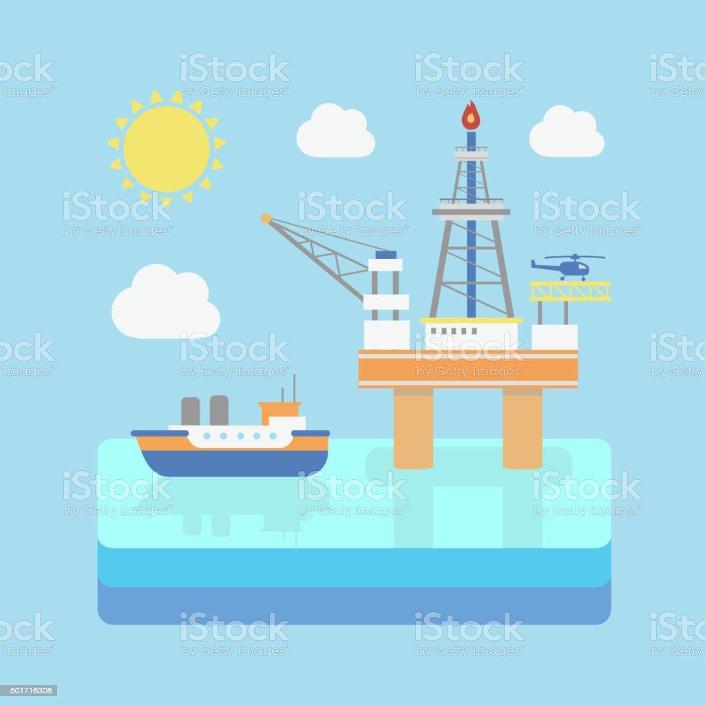 Drilling rig at sea. Oil platform, gas fuel. Industrial illustration vector art illustration