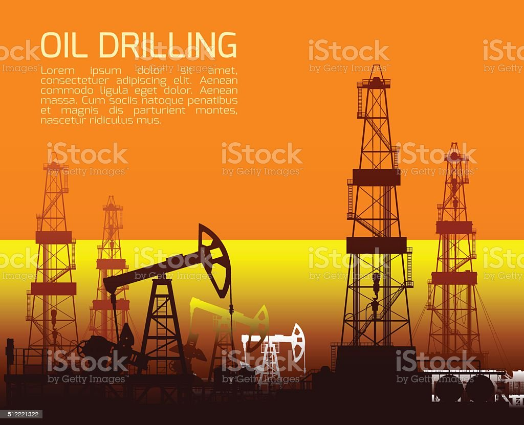Drilling rigs and oil pumps at sunset vector art illustration