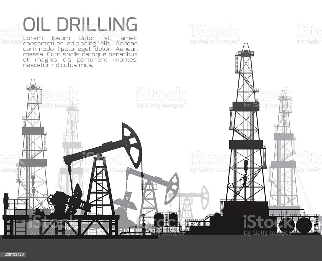 Drilling rigs and oil pumps isolated on white vector art illustration
