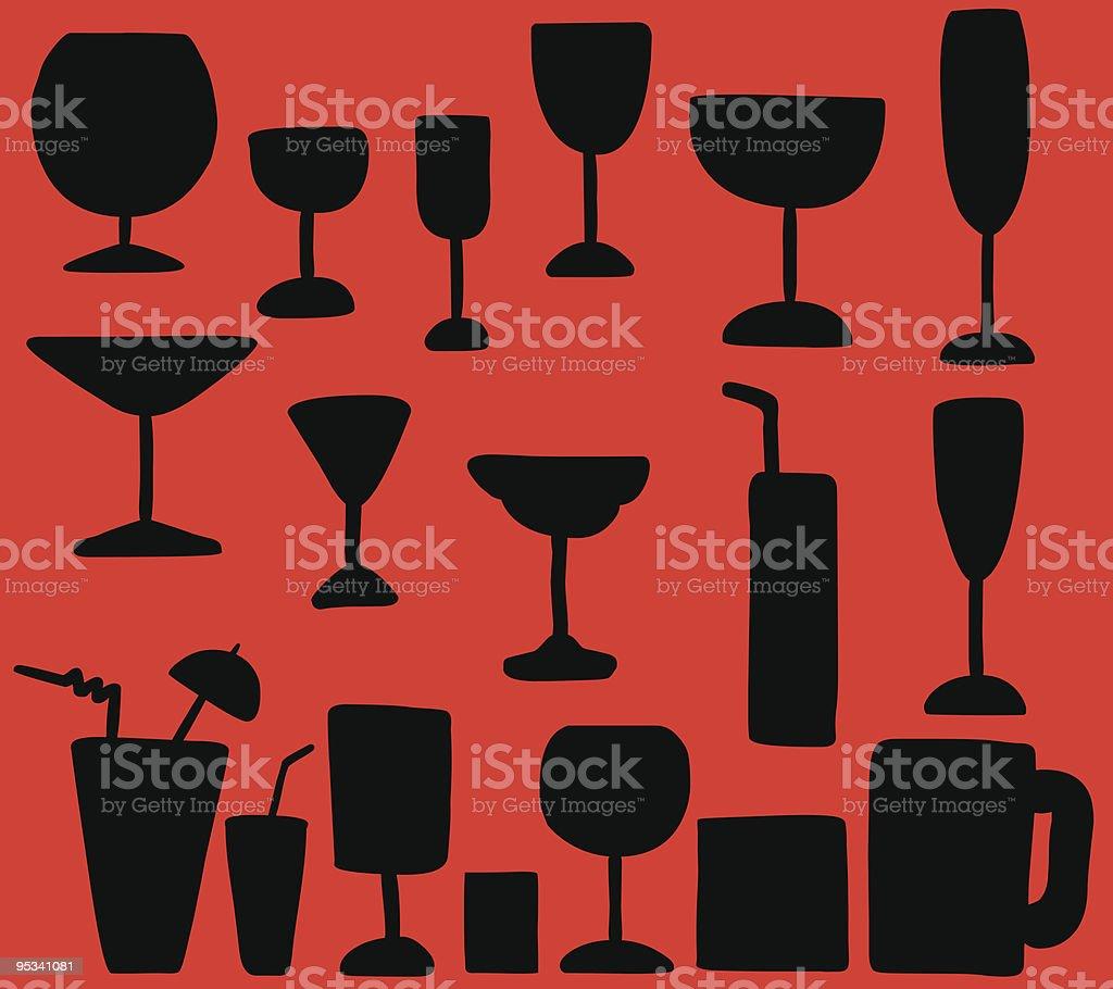 drink alcohol cocktail glasses silhouette  illustration vector art illustration