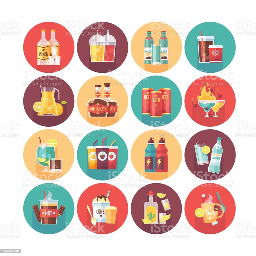 Drink and beverage icon collection. vector art illustration
