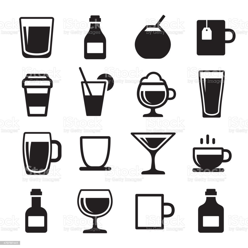 Drink and beverage icons set royalty-free stock vector art