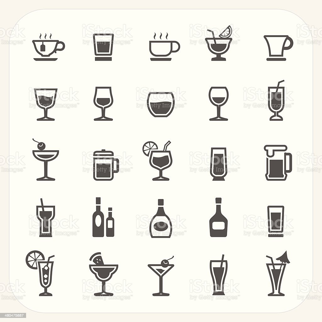 Drink and Beverage icons set vector art illustration