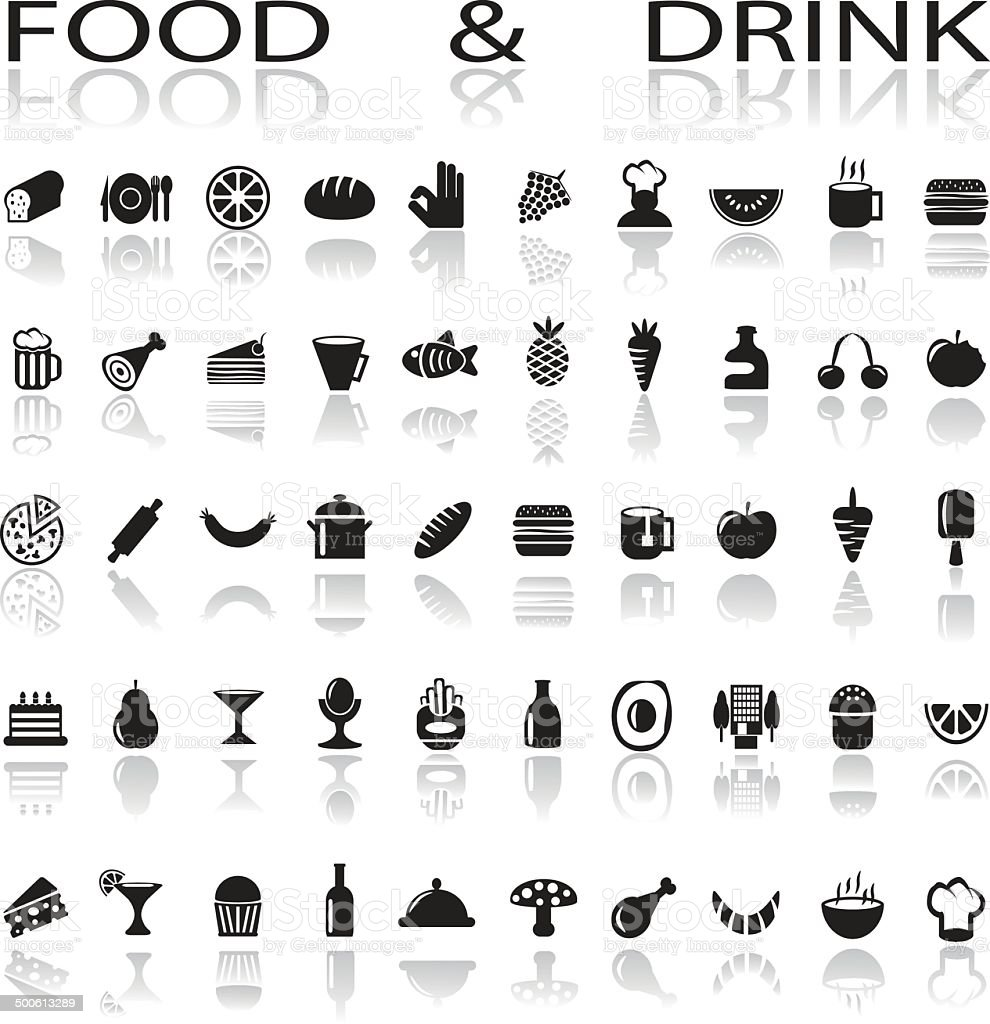 drink and food icons vector art illustration