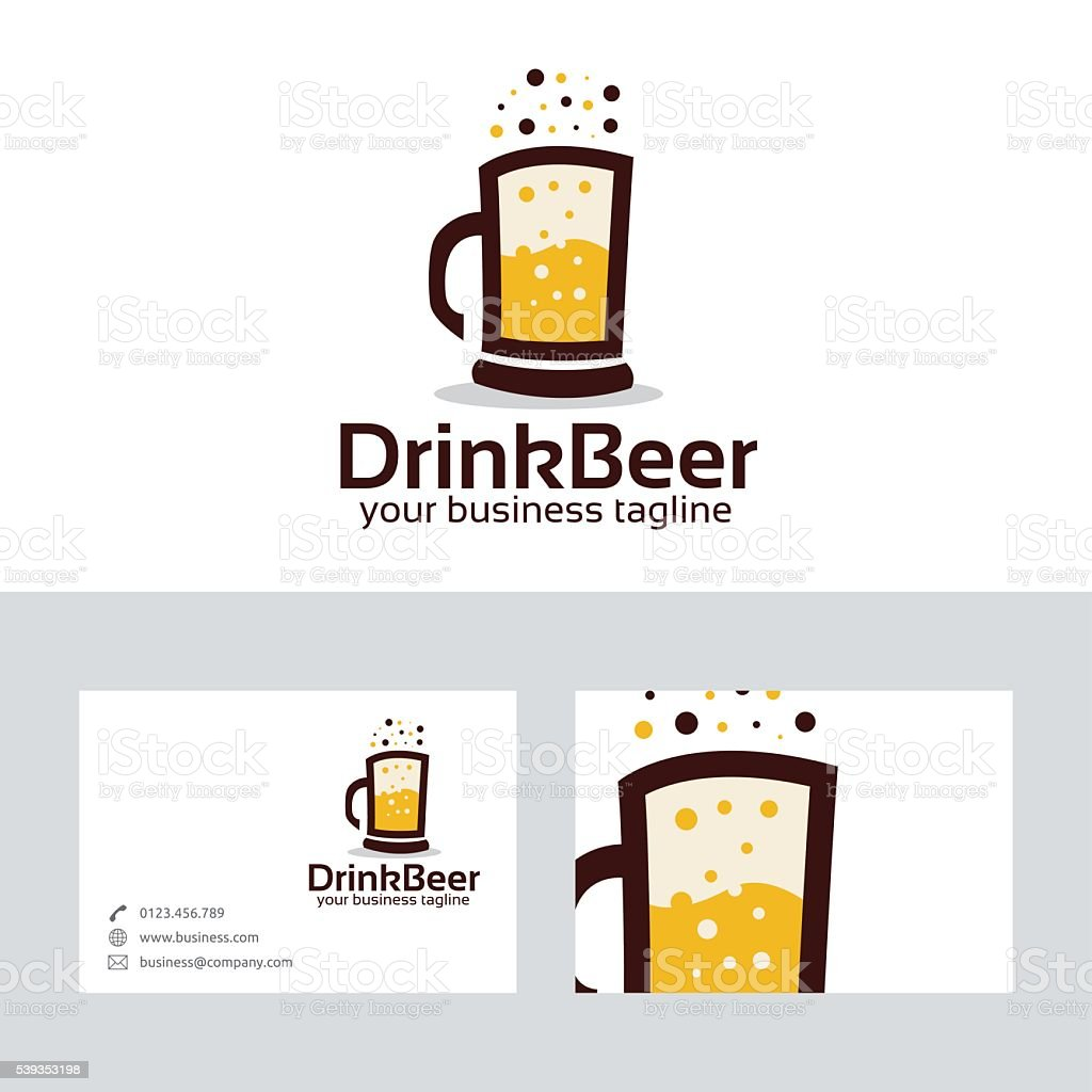 Drink beer vector logo with business card template vector art illustration