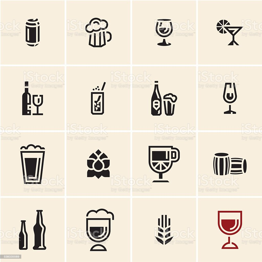 Drink beverage icons set vector art illustration